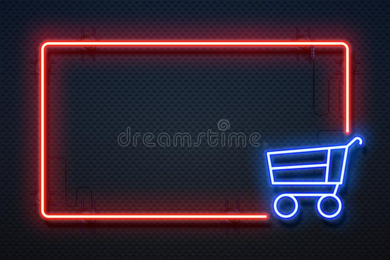 Supermarket neon sign. Hypermarket light banner with glowing frame and cart, online ecommerce. Vector special offer stock illustration