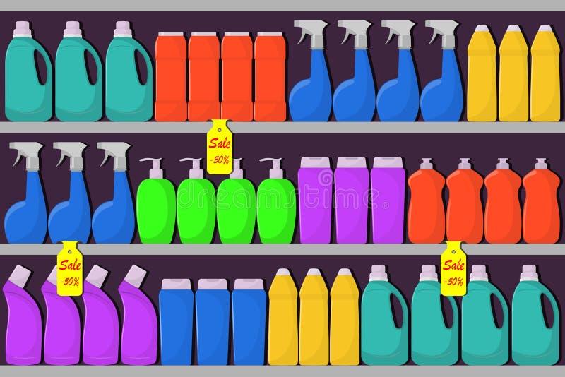 Supermarket odkłada z butelkami detergent, płuczkowy proszek, detergentu proszek, butelka kiść, sposoby dla myć naczynia sprzedaż ilustracja wektor