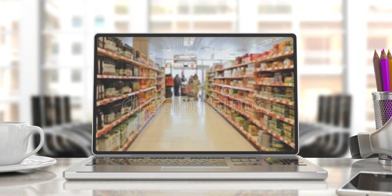 Supermarket online shopping. Blur supermarket on a laptop screen. 3d illustration stock photography