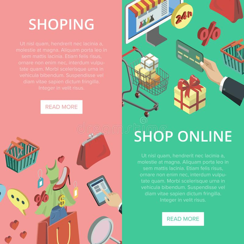 Supermarket online shopping vertical flyers. With isometric mall elements. Mobile marketing and distribution, e-payment and e-commerce, online order and home vector illustration
