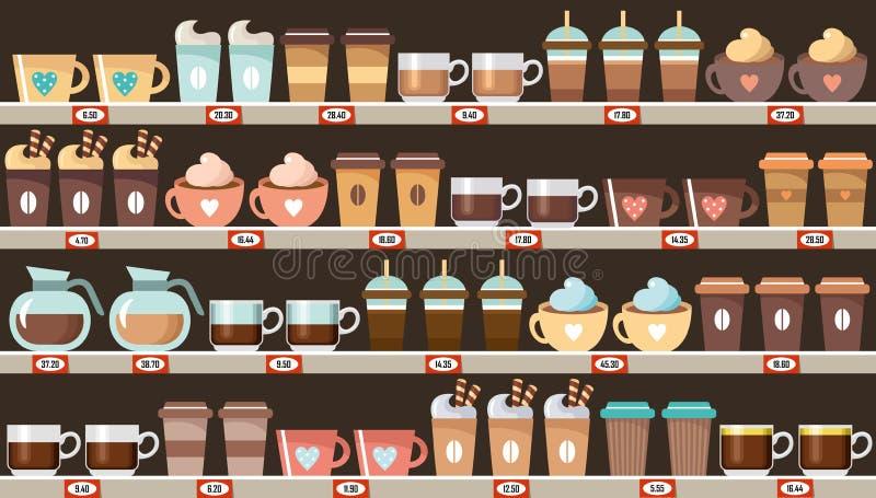 Supermarket, półki z kawą royalty ilustracja