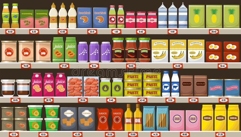 Supermarket, półki z produktami i napoje, ilustracja wektor