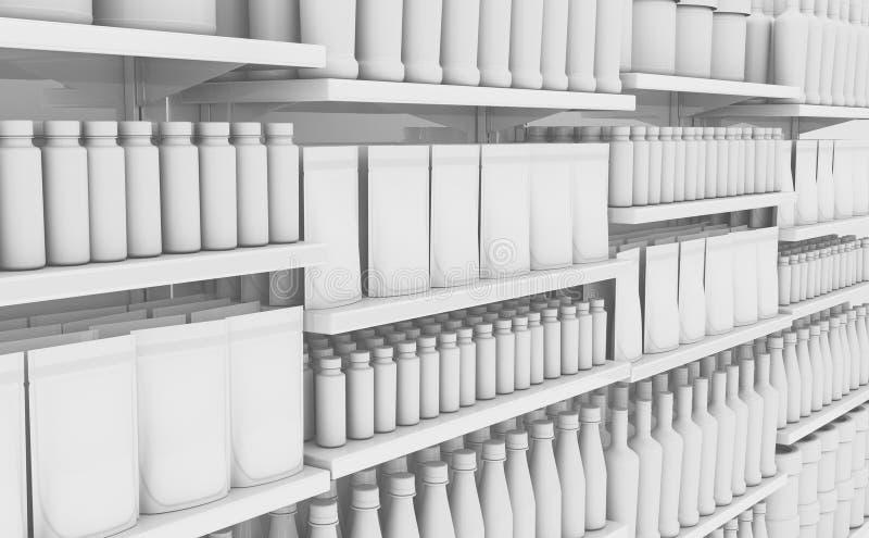 Supermarket półka Z Rodzajowymi produktami ilustracja wektor
