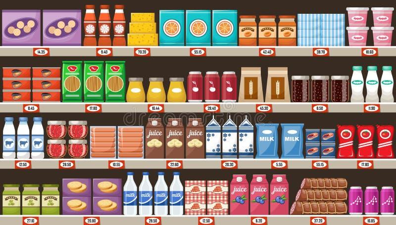 Supermarket, półki z produktami i napoje, ilustracji