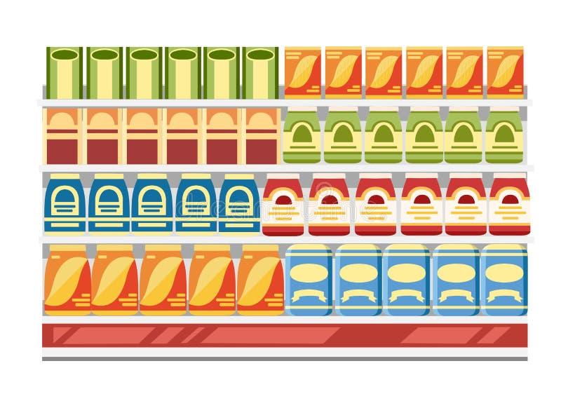 Supermarket półki z produktami Papierowi pudełka z jedzeniem Płaska Wektorowa ilustracja Odizolowywająca na Białym tle ilustracji