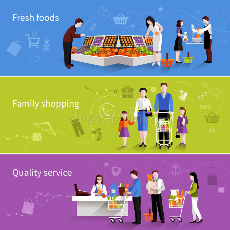 Household Stores: Supermarket People Banners Stock Vector