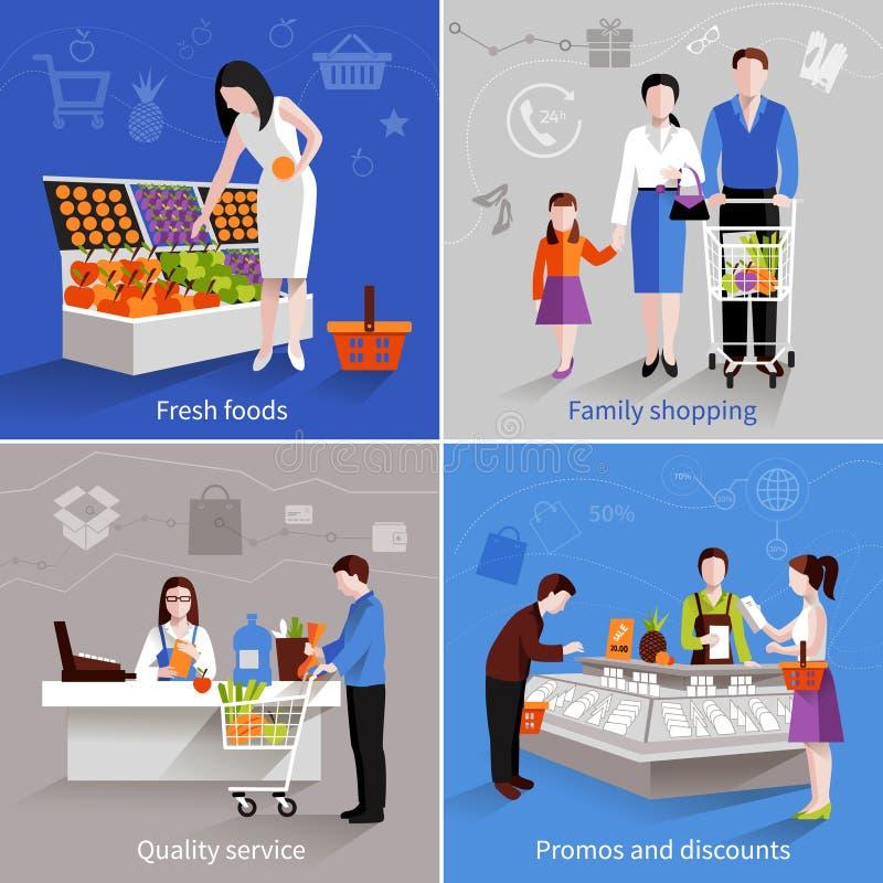 Supermarket People Set stock illustration