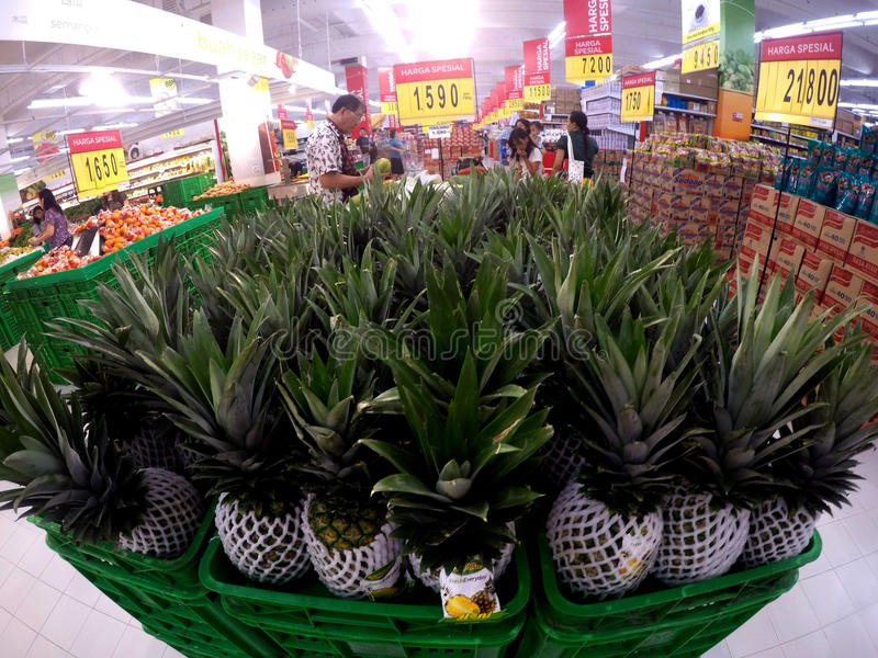 Supermarket. People shopped at a supermarket in the city of Solo, Central Java, Indonesia royalty free stock image