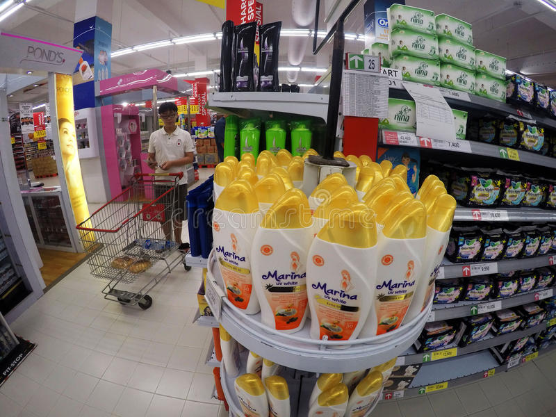 Supermarket. People shopped at a supermarket in the city of Solo, Central Java, Indonesia royalty free stock photos
