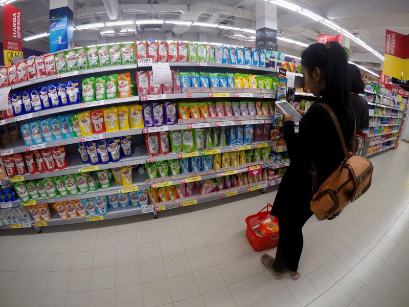 Supermarket. People shopped at a supermarket in the city of Solo, Central Java, Indonesia stock image