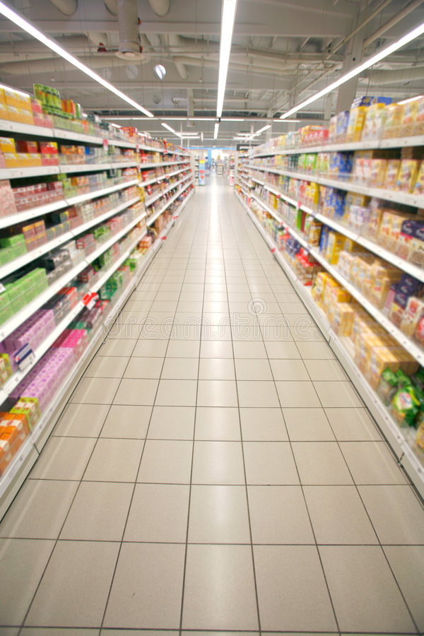 Supermarket perspective stock image