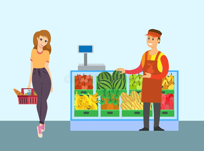 Supermarket Seller ]Fruit Store and Client Vector royalty free illustration