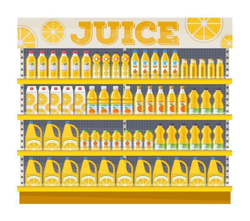 Supermarket shelf display with orange juice. royalty free illustration
