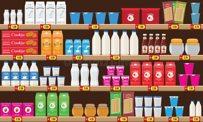 Supermarket, shelf with food and drinks package boxes. Price tag on racks. Illustration with flat and solid color design royalty free illustration