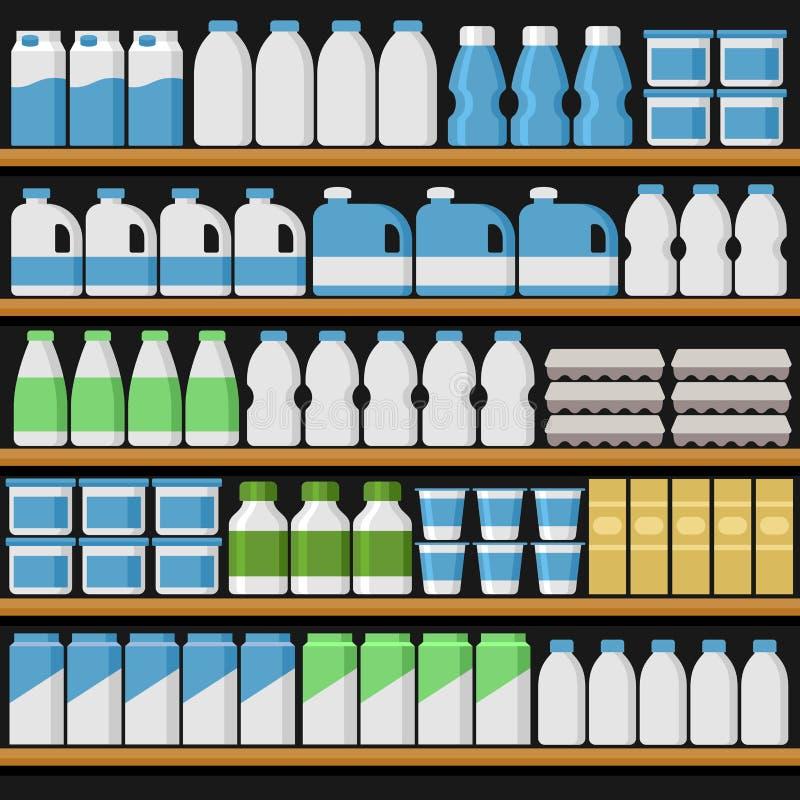supermarket Shelfs bordlägger med produkter och drinkar vektor vektor illustrationer