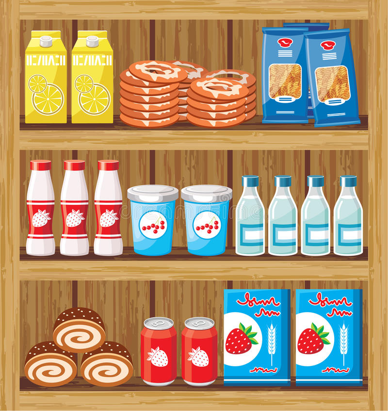 Supermarket. Shelfs with food stock illustration