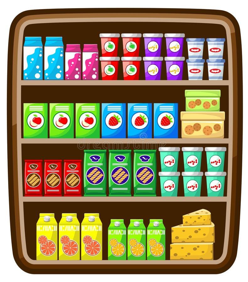 Supermarket. Shelfs with food. stock image