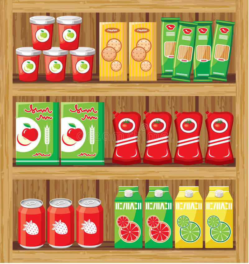 Supermarket. Shelfs with food. stock photo
