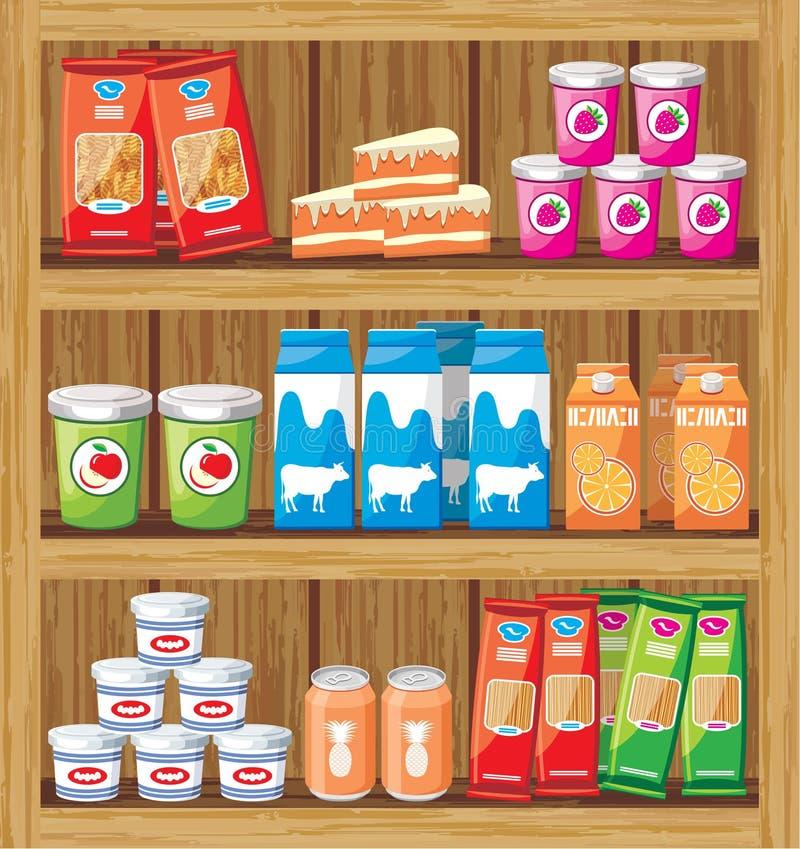 Supermarket. Shelfs med mat vektor illustrationer