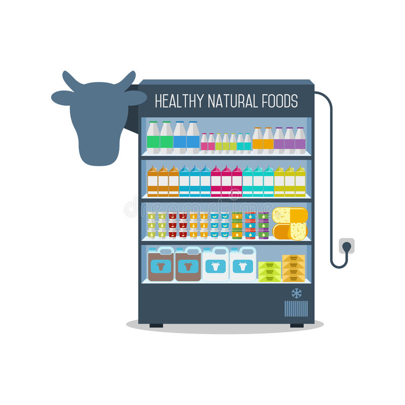 Supermarket shelves with dairy products. Dairy products in the Supermarket shelves on white background vector illustration
