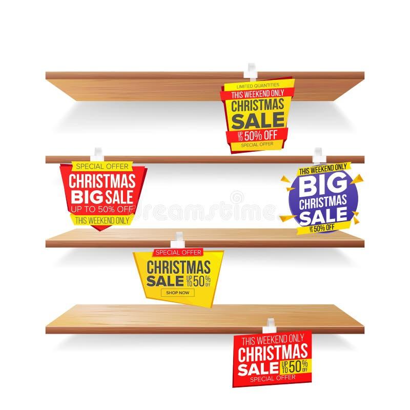 Supermarket Shelves, Holidays Christmas Sale Advertising Wobblers Vector. Retail Sticker Concept. Mega Sale Design vector illustration