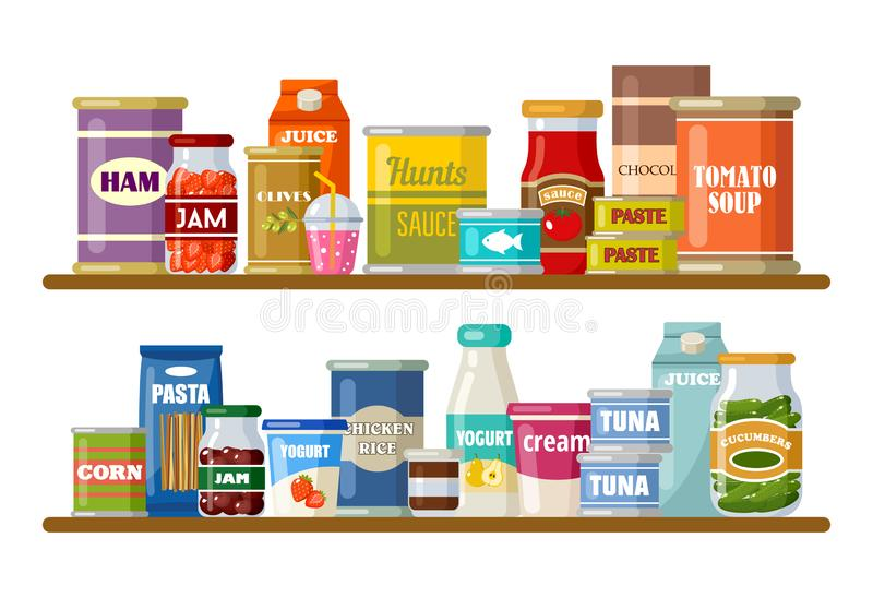 Supermarket, shelves with products and drinks stock photography