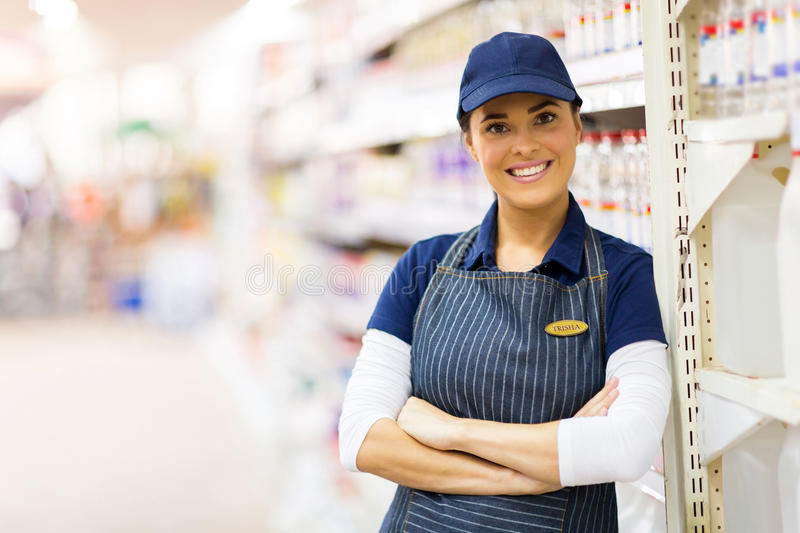 Supermarket shop assistant stock photos