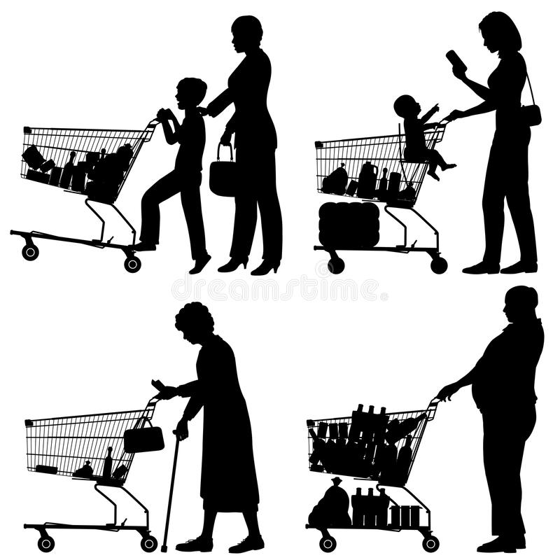 Supermarket shoppers stock illustration