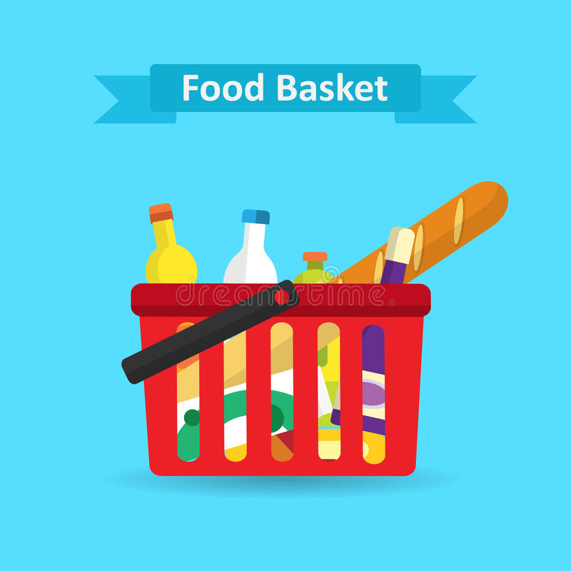 Supermarket shopping basket with fresh and natural food. royalty free illustration