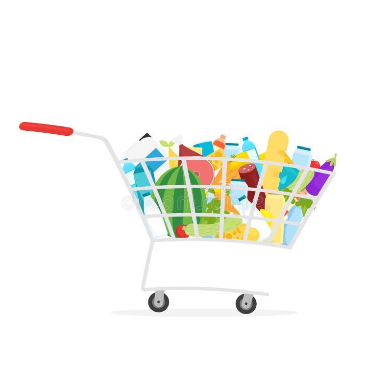 Supermarket shopping cart full of food royalty free illustration