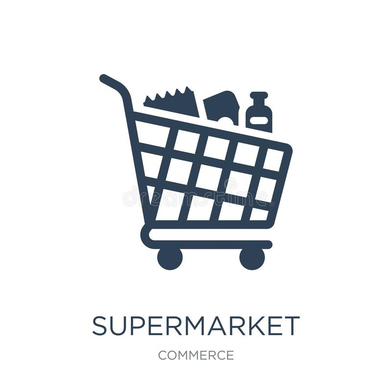Supermarket shopping cart icon in trendy design style. supermarket shopping cart icon isolated on white background. supermarket. Shopping cart vector icon stock illustration