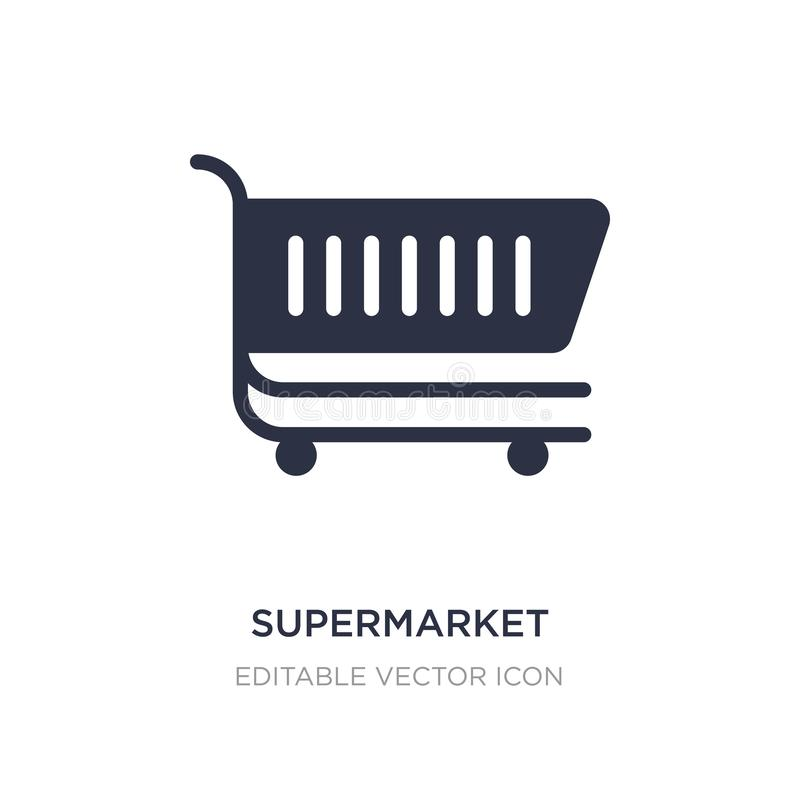 supermarket shopping cart icon on white background. Simple element illustration from Commerce concept vector illustration