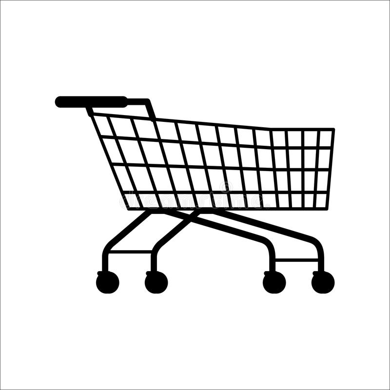 Supermarket Shopping Empty Cart Isolated on White. Vector illustration of dark trolley for carrying products and goods in supermarkets and hypermarkets. Basket stock illustration