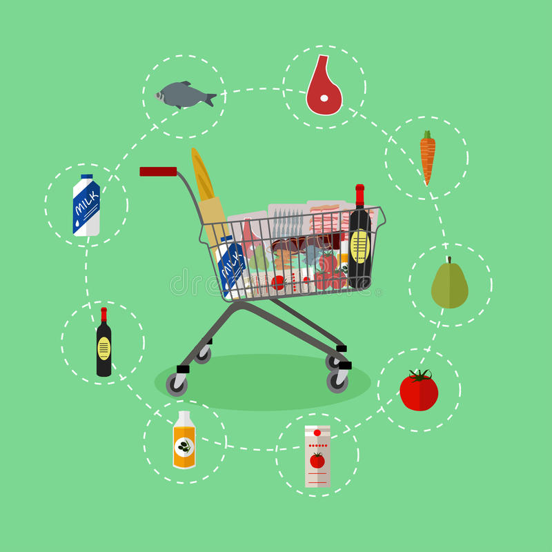 Supermarket shopping trolley cart with grocery products. Vector illustration in flat style. Food icons and design stock illustration