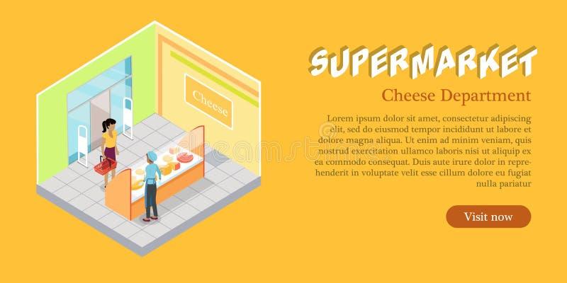 Supermarket sieci Serowy Wydziałowy sztandar royalty ilustracja