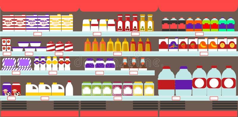 Supermarket, sklep spożywczy odkłada z produktami i napojami royalty ilustracja