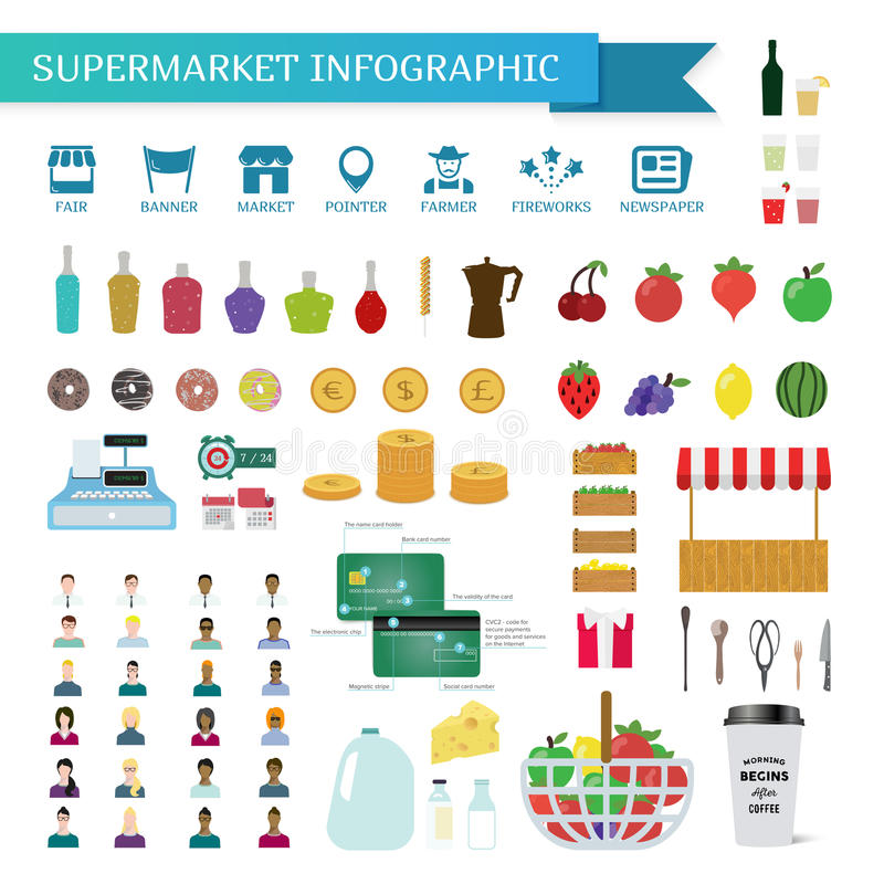 Supermarket som är infographic i plan stil stock illustrationer
