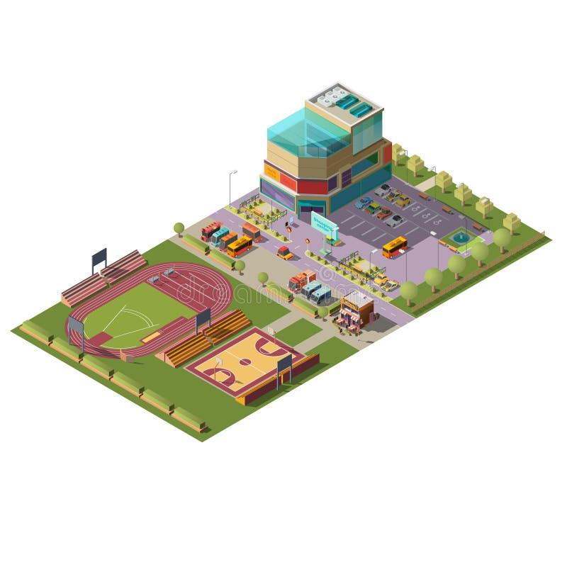 Supermarket and sport stadiums isometric vector vector illustration