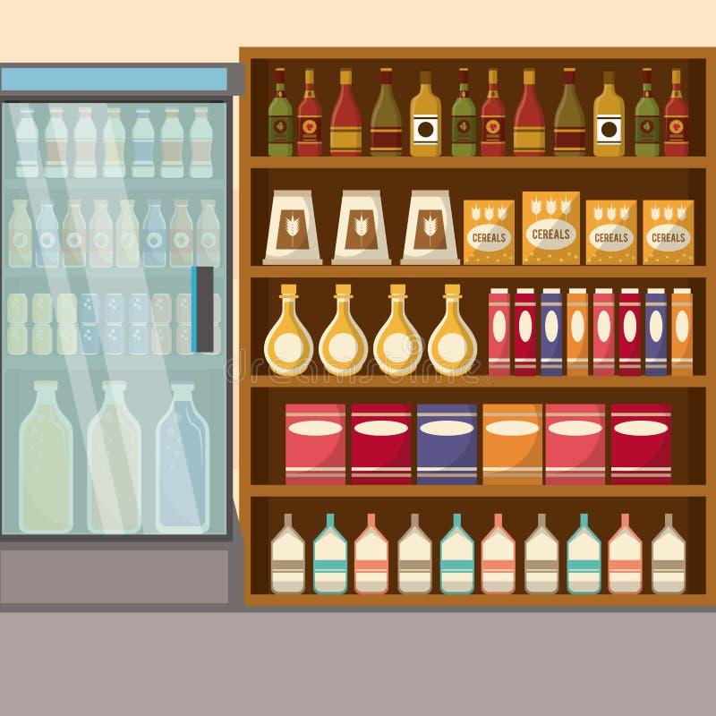 Supermarket sprzedaży stojak royalty ilustracja