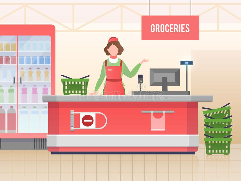 Supermarket store assistant. Happy cashier woman sales food in grocery hypermarket. Retail service, supermarket shopping vector illustration