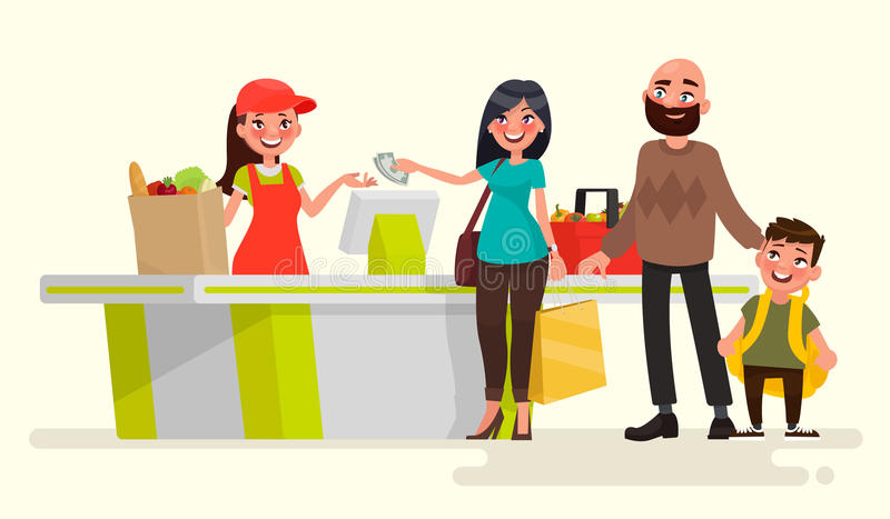 Cashier Cartoons: Supermarket Store Cashier At The Cash Register And Buyers