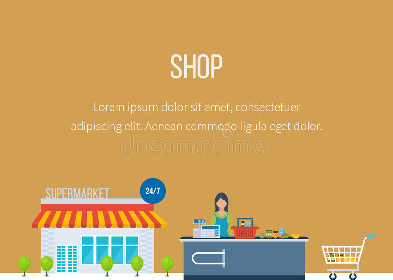 Supermarket store concept with food assortment royalty free illustration