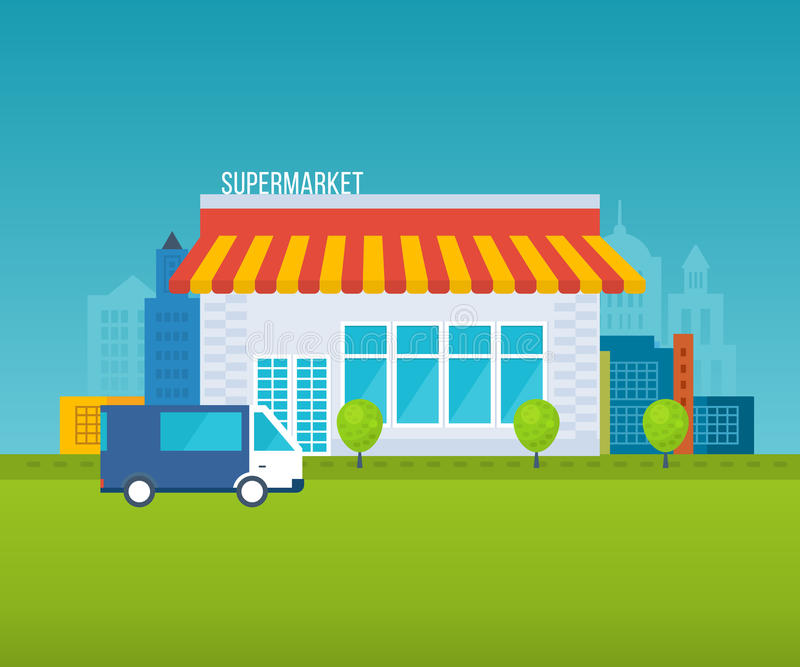 Supermarket store concept with food assortment, opening hours and payment options, delivery icons illustration . royalty free illustration
