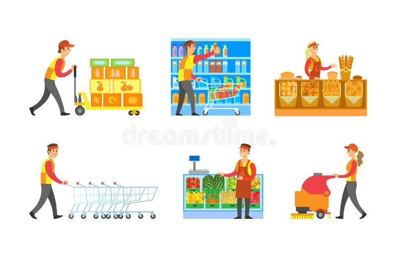 Supermarket Store Departments Workers Set Vector. Man arranging bottles at shelves, shopping trolley. Cleaner and loader with goods. Bakery and fruits stock illustration