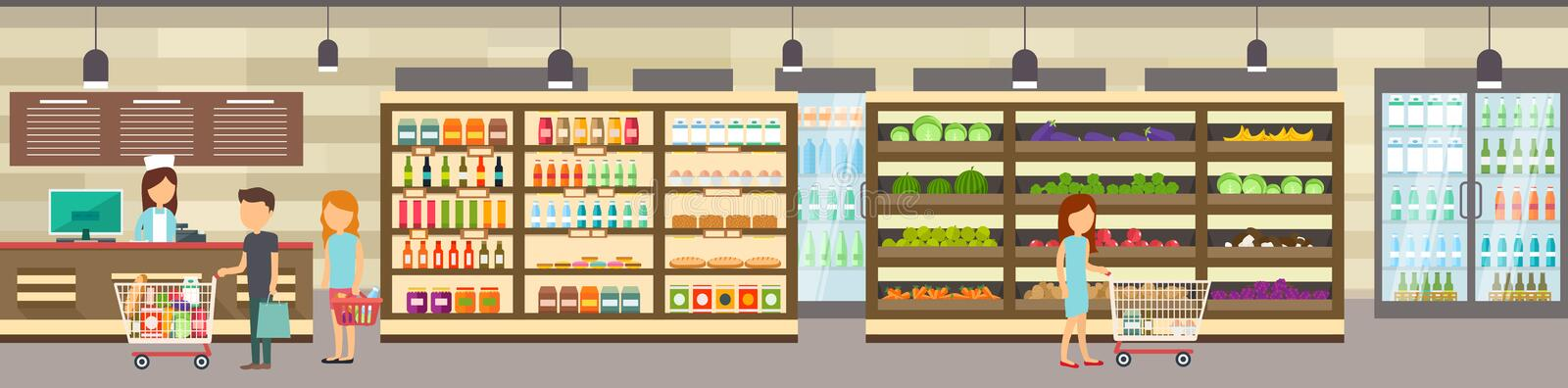 Supermarket store with goods. Big shopping center. Interior store inside. People in line at cash desk. Scene inside shopping mall stock illustration