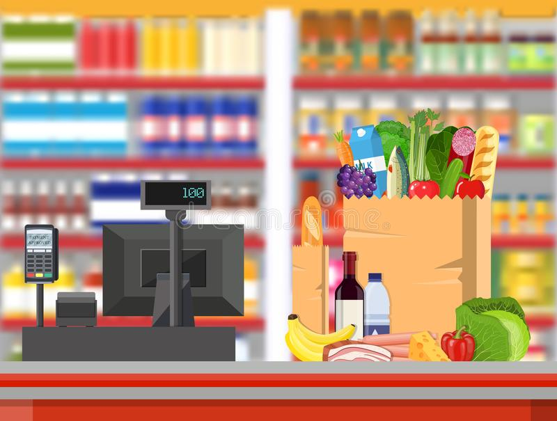Supermarket store interior with goods. Big shopping mall. Interior store inside. Checkout counter with cash register, grocery, drinks, food, fruits, dairy royalty free illustration