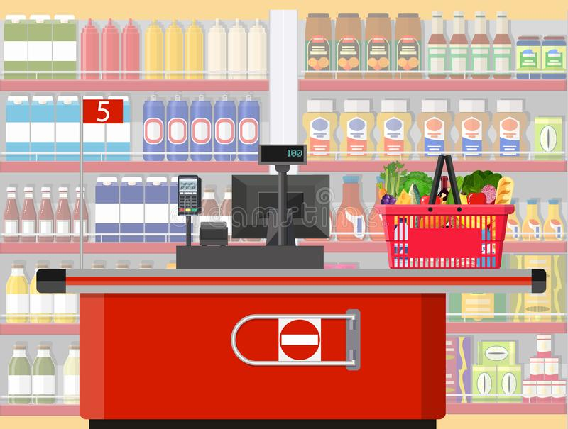 Supermarket store interior with goods. Big shopping mall. Interior store inside. Checkout counter, grocery, drinks, food, fruits, dairy products. Vector vector illustration
