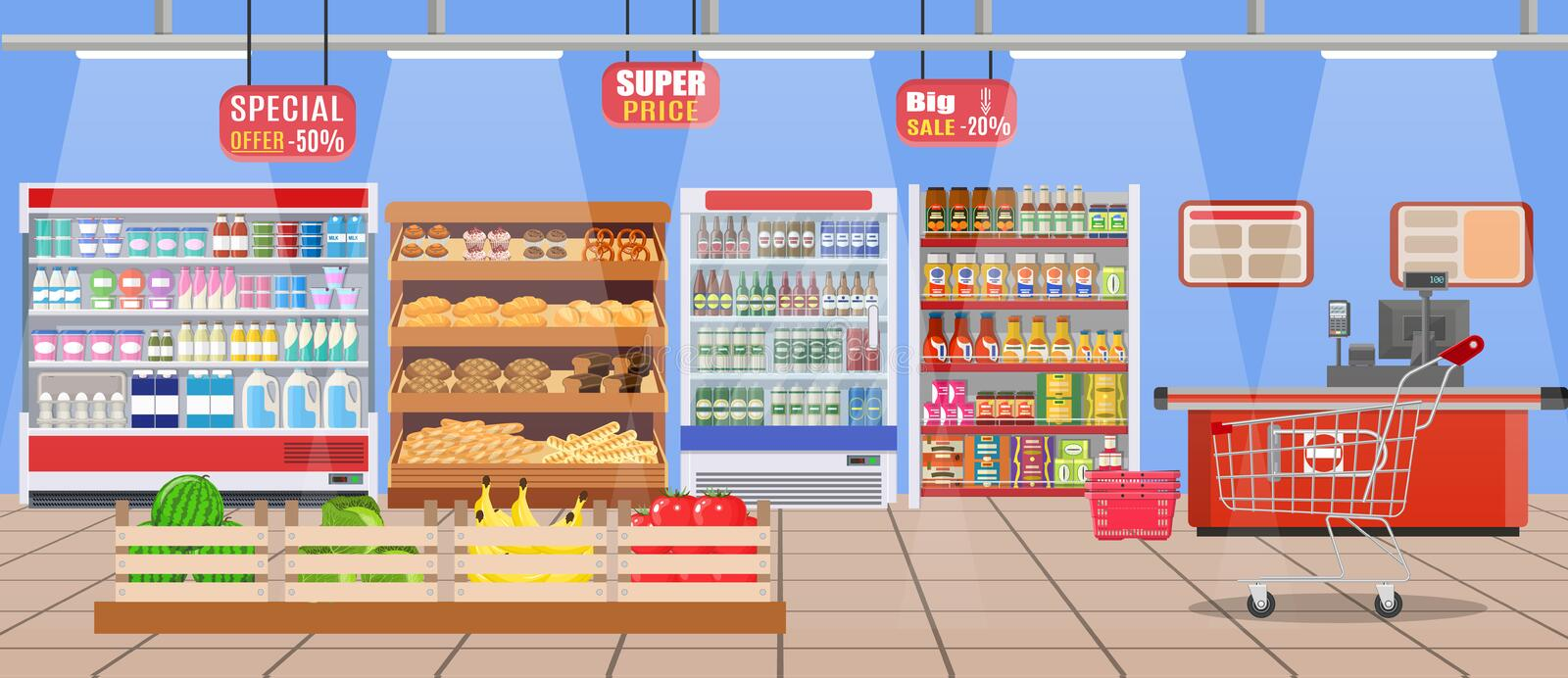 Supermarket store interior with goods. Big shopping mall. Interior store inside. Checkout counter, grocery, drinks, food, fruits, dairy products. Vector stock illustration
