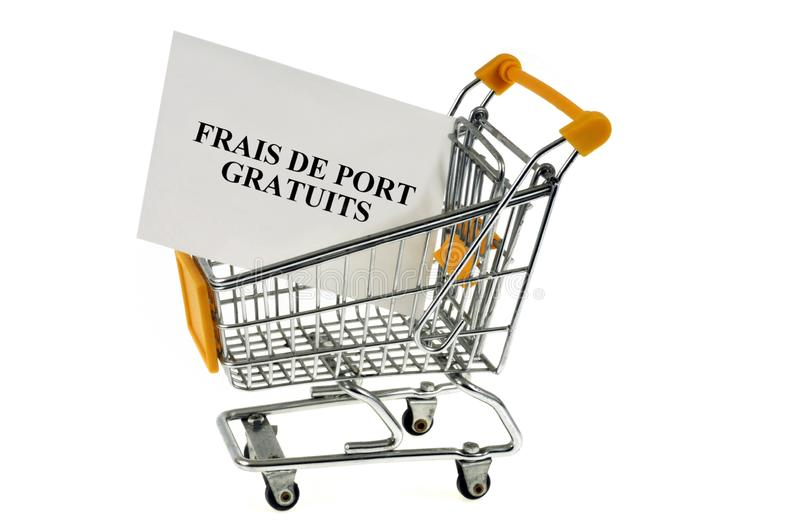 Free charge written in French. Supermarket trolley with a card on which is written in French Free written charges stock illustration