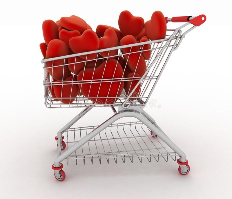 Supermarket trolley full of red hearts stock illustration